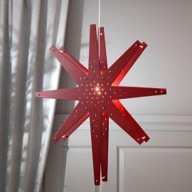 Adventsstjärna Tall röd hängandes med vit bakgrund