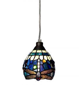 Nostalgia Design Trollslända Tiffany fönsterlampa blå 13cm